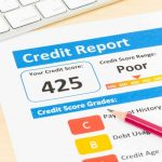 A credit report showing a poor credit score